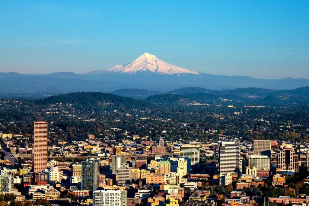 City of Portland with Mt. Hood View